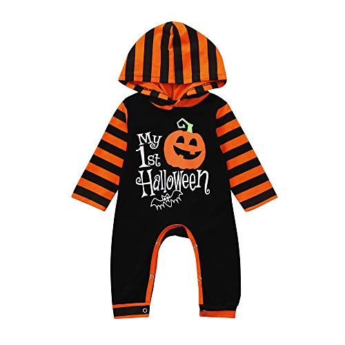 Fossen Disfraz Halloween Bebe Niña Niño Calabaza Peleles My First Halloween Monos con Capucha y Manga Larga