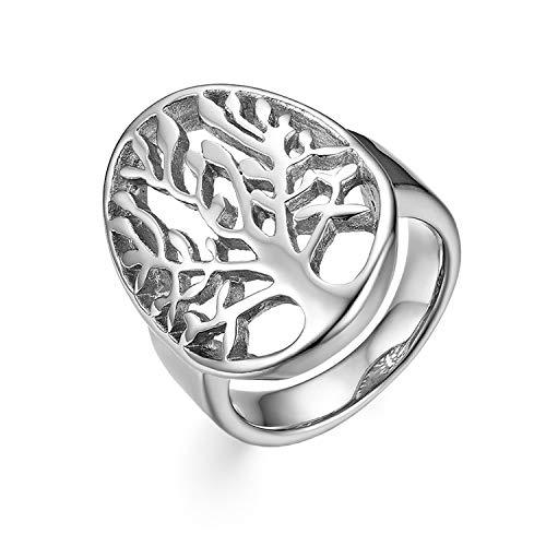 Oidea Uomo Donna Anello acciaio inossidabile Fidanzamento albero della vita traforato argento 14