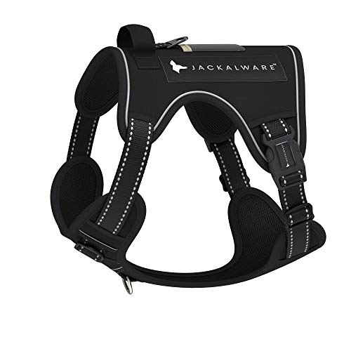 Jackalware Comfort Fit No Pulling Easy Adjustable Reflective Padded Dog Harness Front and Back Clip Training and Everyday wear - from Family owned UK Company (S, Black)