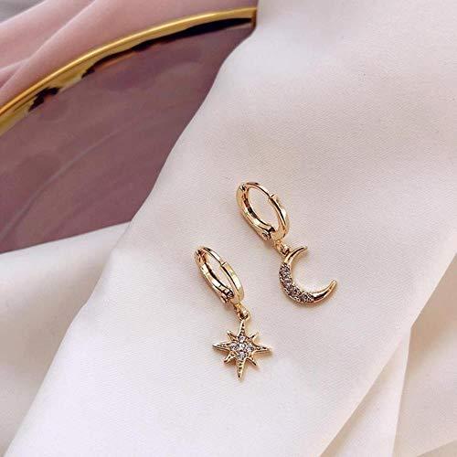 LEIXNDPLBO Aankomst Mode Klassieke Geometrische Vrouwen Dangle Oorbellen Asymmetrische Oorbellen Van Ster En Maan Vrouwelijke Koreaanse Sieraden, goud