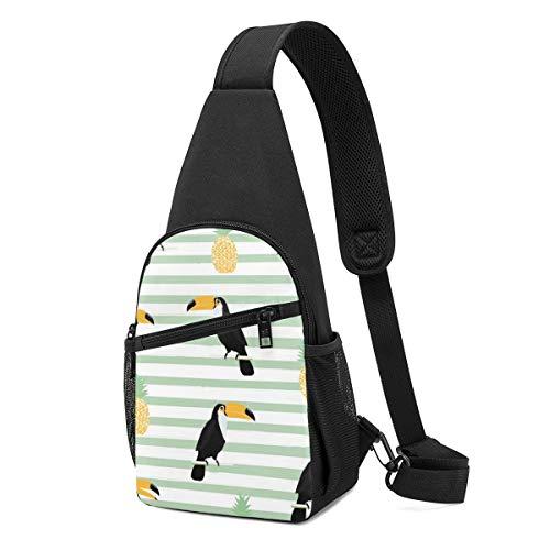 Bolso bandolera con diseño de piña y tucán con rayas sin costuras, con patrón de fondo sin costuras, mochila ligera para el hombro, mochila para el pecho, bolsa cruzada, bolsas de viaje, senderismo, para hombres y mujeres