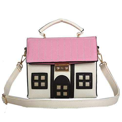 Personality House Shaped Messenger Bags PU Leather Crossbody Shoulder Bag for Ladies Girl Casual Mini Handbag (Beige)