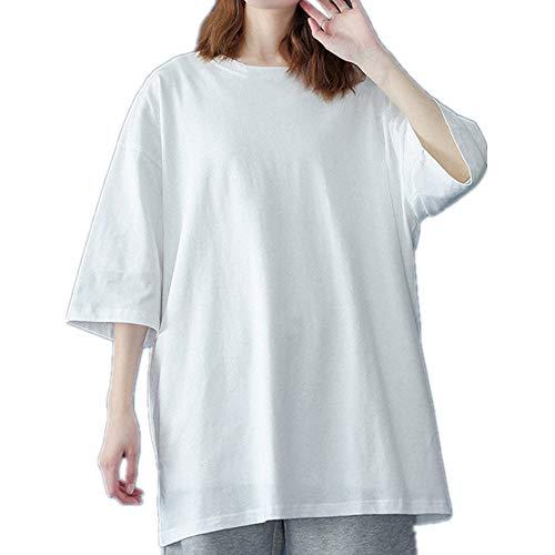 Camiseta básica de algodón de las mujeres de verano de gran tamaño sólido camisetas casual suelta camiseta O-cuello femenino Tops, blanco, S