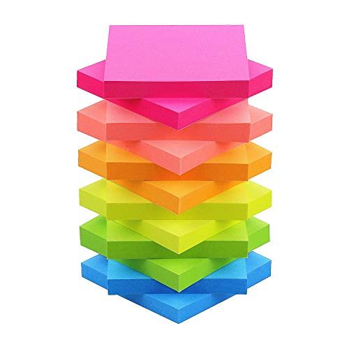 Sticky Notes 3x3 Self-Stick Notes Bright Multi Colors Pink Sticky Notes 12 Pads 100 Sheet/Pad (12)