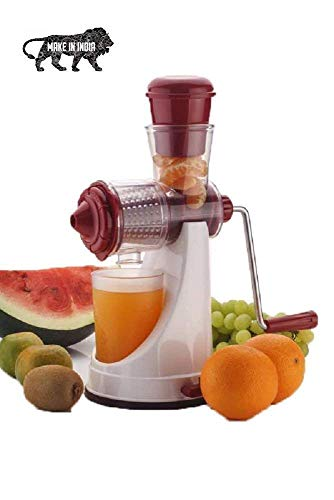 KWT Hand Juicer for Fruits and Vegetables with Steel Handle Vacuum Locking System,Shake, Smoothies, Travel Juicer for Fruits and Vegetables,Fruit Juicer for All Fruits+= (Red)
