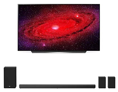 LG OLED77CXP 77' Ultra High Definition HDR Smart Self Lighting OLED TV with a LG SN11RG 7.1.4 Ch Sound Bar with Surround Sound Speakers and Subwoofer (2020)