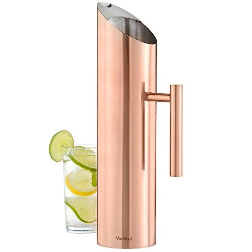 Edelstahl Kupfer Wasserkrug - Wasserkaraffe 1.7L - Eistee karaffe/Wasser Krug