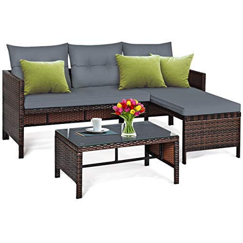 Tangkula Patio Corner Sofa Set 3 Piece, Outdoor Rattan Sofa Set, Includes Lounge Chaise, Loveseat & Coffee Table, Patio Garden Poolside Lawn Backyard Furniture (Gray)