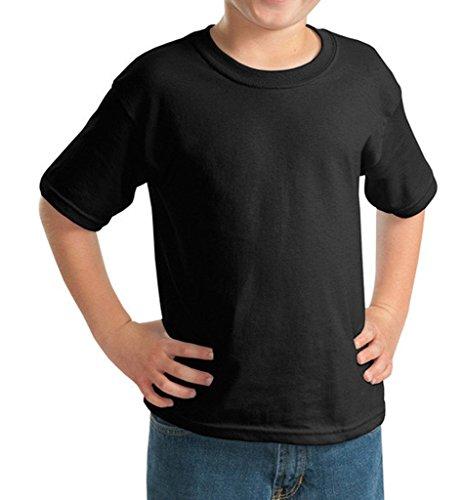 Bigood T-Shirt Enfant Fille Garçon Haut Tops Coton Chemise Col Rond Manche Courte Blouse Casual Noir Bust 64cm