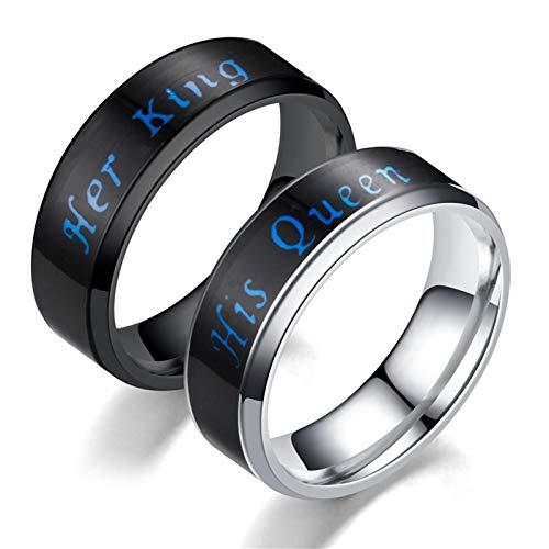 Beglie 1 Paar Unisex Paar Ringe 6MM Edelstahl Verlobungsring mit Gravur Her King & His Queen Eheringe Zweifarbig Schwarz Silber