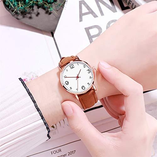 Uhr Armbanduhren Männer Damenuhren Hansee Modifizierbares Temperament Frauen Mit Mesh Ledergürtel Armbanduhr Quarz Analog Runde Uhren Wrist Watches(Kaffee)