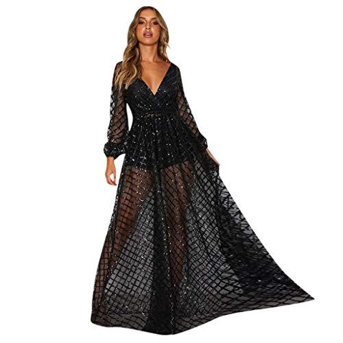 iYmitz Damen Mode V-Ausschnitt Pailletten Beiläufig Spitze Solide Mesh Perspektive Langes Kleid Flapper Partykleider Abschlussballkleider...