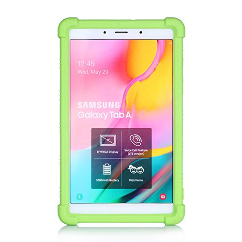 Oneyijun Green Stand Silicone Skin Pouch Protection Case Protective Cover Case for Samsung Galaxy Tab A 8.0 2019 T290 T295 Tablet