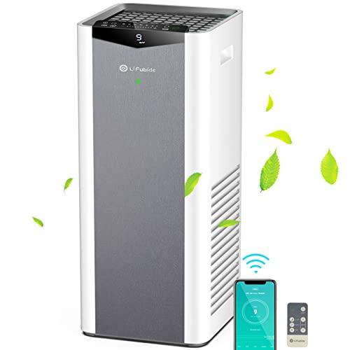 Lifubide X600 Luftreiniger mit H13 HEPA 3-Fach Filter mit 950 Gram Aktivkohle CADR 610m³/h für großen Raum Entfernt 99,97% der allergischen Partikel Pollen Rauch Haustier