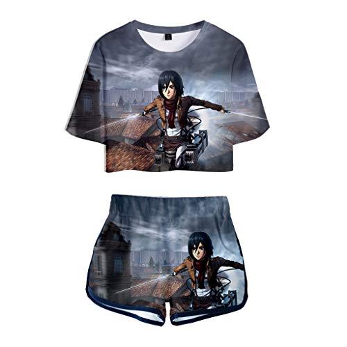 Attack on Titan Tshirt und Shorts Damen, Levi Ackermann AOT Scouting Legion Aufklärungstrupp T-Shirts Kurze Hose Anime Cosplay Kurzarm Shirt Tops Trainingsanzug Cos Sportswear Set (G,XS)