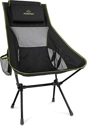 normani Outdoor Sports Ultraleicht Tragbar Klappbar Campingstuhl Klappstuhl Faltbar Outdoor-Stuhl mit Tragetasche Angelstuhl Strandstuhl aus Aluminium bis 150 kg belastbar Farbe Oliv