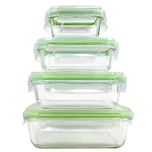 Home Fleek - Boite Alimentaire en Verre | 4 Récipients + 4 Couvercles | Hermétique | sans BPA (Lot de 4, Vert Rectangulaire)