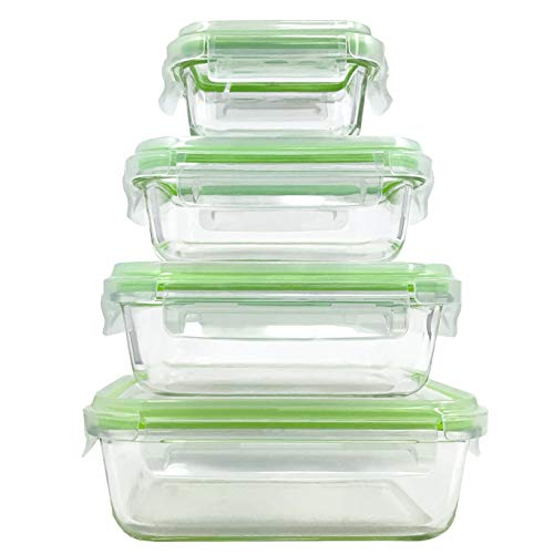 Home Fleek - Envases de Vidrio para Alimentos | 4 Recipientes + 4 Tapas | Herméticos | Sin BPA (Set...