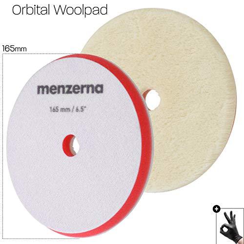 detailmate Menzerna Polier Pad 165mm/6.5' - Premium Orbital Wool Pad: kurzhaariges Lammfell - hochwertiger Velcro - abrasiv - für exztentrische Poliermaschinen geeignet