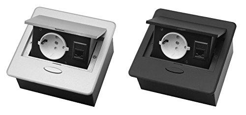 M57 Einbausteckdose mit Internetanschluss in silber oder schwarz (silber)