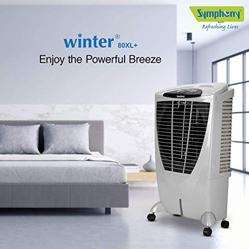 Symphony Winter 80 XL + Powerful Desert Air Cooler 80-litres Tank,+Air Fan, 4-Side Pads, Multistage Air Purification, Whisper-Quiet Performance (Grey)