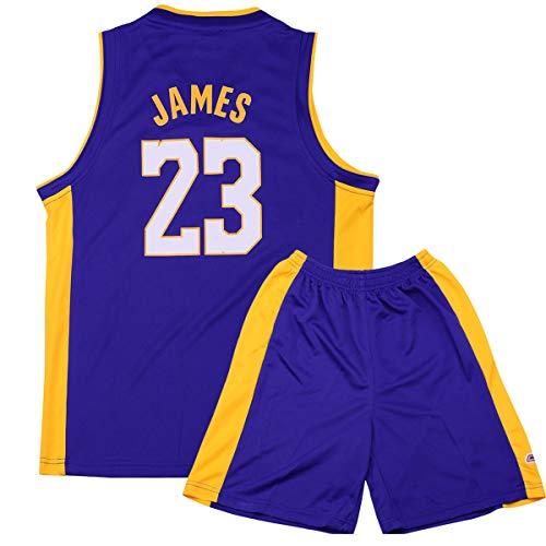 Sokaly Ragazzi Adulto Chicago Bulls Jorden # 23 Curry#30 James#23 Boston Pantaloncini da Basket Jersey Set di Abbigliamento Sportivo Maglie Top e Shorts (Altezza 100-180cm) (Blu#Lakers, XL(Bambino))