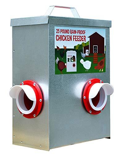25LB Outdoor Rainproof Galvanized Chicken Feeder 20 Liter Capacity (Corner)