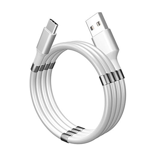Magnetic USB-C Cable, Self Winding Fast Charging USB Type C, 3A (3ft, White)