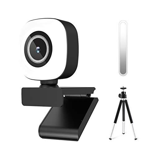 QI-EU Webcam 1080P mit Mikrofon ,Full HD Facecam Live-Streaming Webcams mit Ringlicht und Stativ,Automatischer Lichtkorrektur USB Kamera für PC, Videochat-Aufnahme, Mac, Laptop, Zoom, Skype
