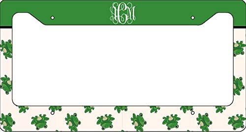 Monogrammed License Plate Frame - Cute Green Frog Auto Car Novelty Accessories License Plate Art - 12x6 Inches