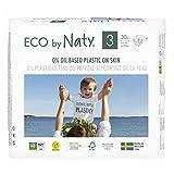 Eco by Naty, Taglia 3, 180 pannolini, 4-9kg, fornitura di UN MESE, Pannolino eco premium a base vegetale con lo 0% di plastica sulla pelle