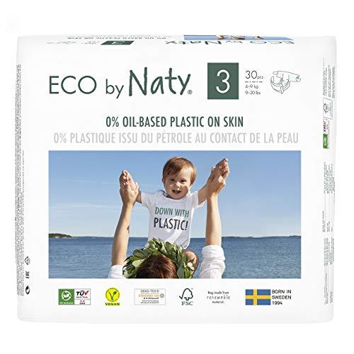 Eco by Naty, Taille 3, 180 couches, 4-9kg, Soit UN MOIS d'utilisation. Couche écologique fabriquée à partir de fibres végétales, 0% de plastique (issu du pétrole) au contact de la peau de bébé.