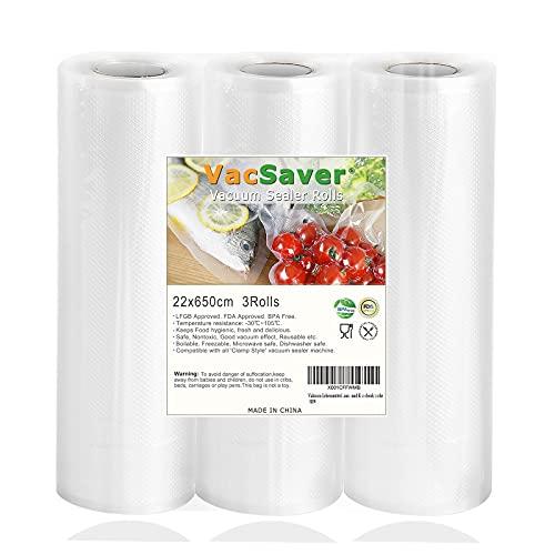 VacSaver Rollos al Vacío - 3 Rollos 22x650cm Bolsas de Vacío para el Almacenamiento de Alimentos y la Cocina Sous Vide, Bolsas de Vacío para Alimentos Aptos para Todas las envasadoras al vacío
