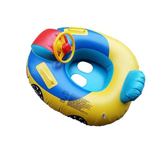 TYUXINSD Licht Schwimmbad Floating Bett Infant Schwimmring Runden Extra große Auto Lenkrad Schwimmen Boot Baby Airbetten & Schlauchbett (Farbe: Cartoon, Größe: Kostenlose Größe)