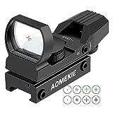 AOMEKIE Red Dot Visier Airsoft mit 20mm/22mm Schiene Leuchtpunktvisier Rotpunktvisier mit Tactical 4 Reticles für Jagd Softair Pistole & Armbrust