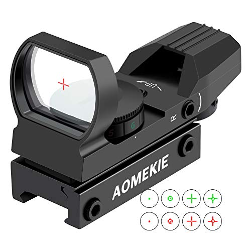 AOMEKIE Red Dot Visier Airsoft mit 20mm/22mm Schiene Leuchtpunktvisier Rotpunktvisier mit Tactical 4 Reticles für Jagd Softair Pistole und Armbrust