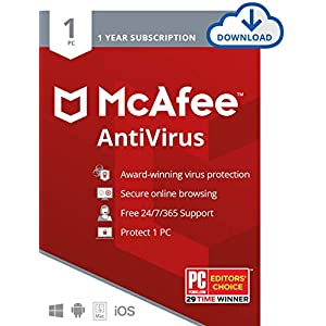 McAfee AntiVirus Protection 2020, Internet Security Software, 1PC, 1 Year – Download Code