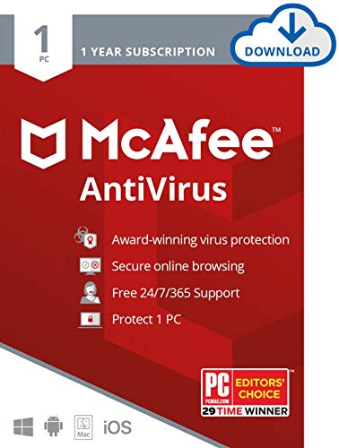 McAfee AntiVirus Protection, 1PC, Internet Security Software, 1 Year Subscription- [Download Code]- 2020 Ready