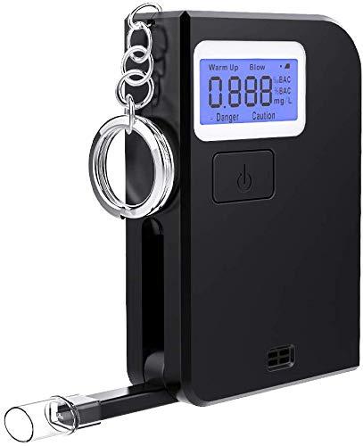 Ciaoed Alkoholtester Schlüsselbund Tragbares Alkohol-Atemtestgerät mit 5 Mundstücken Alkohol Analyzer Für Den Persönlichen und Professionellen Gebrauch