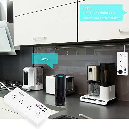 Smart Power Strip, Wifi Surge Protector, Voice Control with Alexa & Google Home, 4 AC Outlets 4 USB...