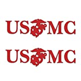 Edward & Co 2pcs Sticker USMC Decal United States Army Military for Car Truck Window Laptop Bumper US Flag 7.5 x 2.0 in (Red)