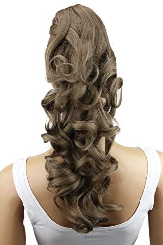 PRETTYSHOP 40cm Haarteil Zopf Pferdeschwanz Haarverlängerung Voluminös Gewellt Aschbraun H214