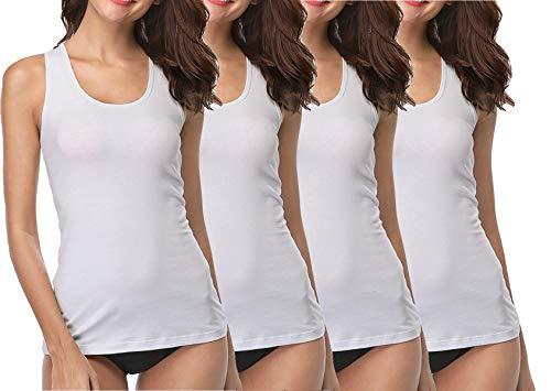 BestSale247 4 Stück Damen Unterhemden - Tank Top aus 100% gekämmte Baumwolle (Tank Top Weiß, 52-54)