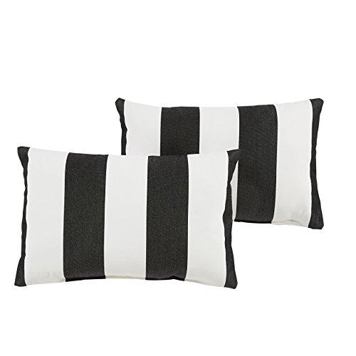 Mozaic Company AZPS6242 Indoor Outdoor Sunbrella Lumbar Pillows, Set of 2, 12 x 18, Black & White Stripes