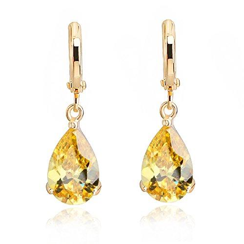 Crystalline Azuria Tropfenform Ohrhänger mit Gelber simulierter Citrin Zirkonia Kristalle 18 kt Vergoldet für Damen