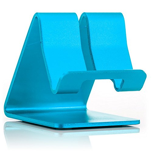 Saxonia Supporto in Alluminio Stand da tavolo Holder per Smartphone Tablet ebook Reader Blu