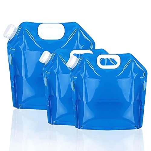 Bidón de Agua Plegable, FANDE 3 Pack portátil Plegable Agua Potable Depósito de Agua depósito de Agua para Senderismo Camping Picnic Travel BBQ 5L /10L