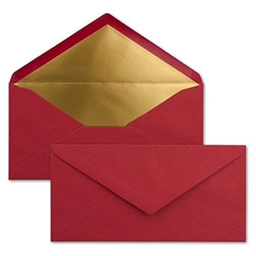 50 Brief-Umschläge DIN Lang - Dunkel-Rot mit Gold-Metallic Innen-Futter - 110 x 220 mm - Nassklebung - Festliche Kuverts für Weihnachten