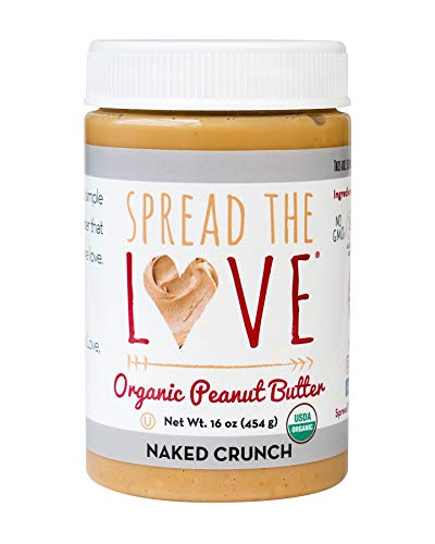 Spread The Love NAKED CRUNCH Organic Peanut Butter (Organic, All Natural, Vegan, Gluten-free, Creamy, Dry-Roasted, No added salt, No added sugar, No palm oil) (1-Pack)