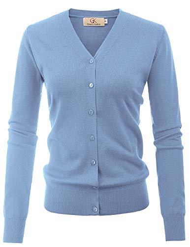 GRACE KARIN Essentials Women's Lightweight V Neck Cardigan Sweater(L,Light Blue)